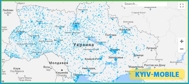 карта покрытия 4g киевстар